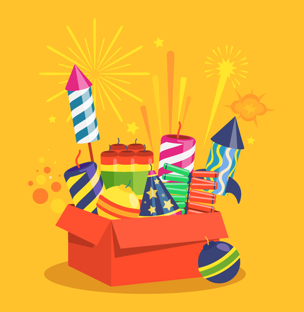 Fireworks and Pyrotechnics in Box on Orange Background