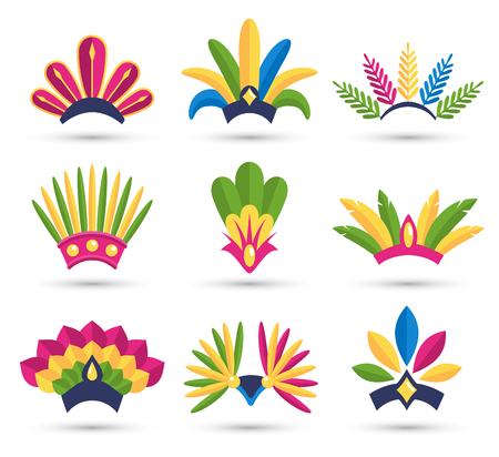 Carnival Festive Headdress Hat Icons Isolated on White Background Imagens