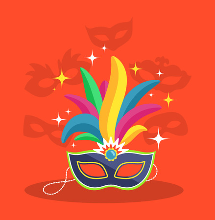 Mask with Multicolor Feather on Red Background Foto de archivo