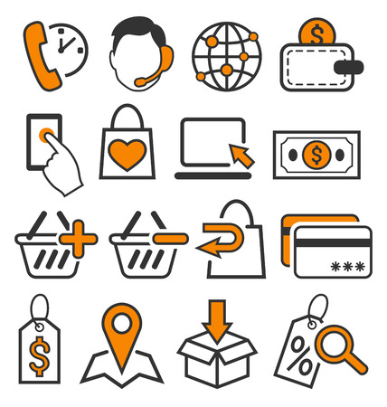 E-commerce Shopping Flat Icons Signs Collection Isolated on White Background Foto de archivo