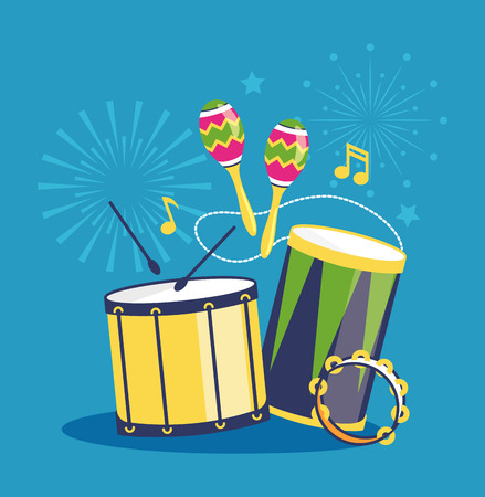 Fireworks and Musical Instruments on Blue Background