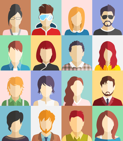 Set of People Faces Avatars Flat Icons Imagens