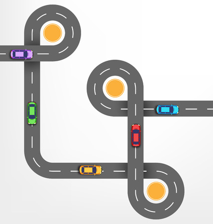 Road Infographic Travel Background with Cars