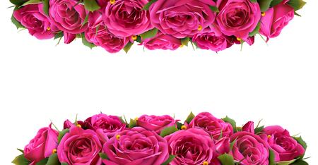 Roses Fleurs Festive Border Félicitation Concept isolé sur fond blanc
