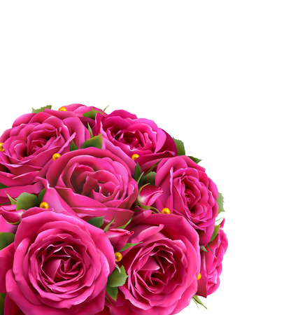 Bouquet of Roses Flowers Festive Congratulation Best Regards Concept Isolated on White Background Vectores