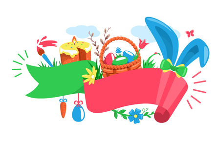 Easter Festive Ribbon Concept with Rabbit Wicker Basket Eggs Cake and Paint Brush Isolated on White Background