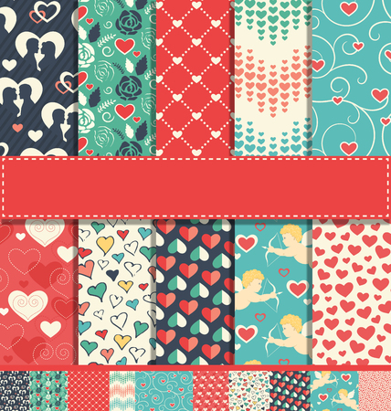 Set of 10 Seamless Festive Love Abstract Fun Patterns