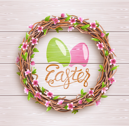 Easter Festive Twigs Wreath with Flowers on Light Wooden Background Vectores