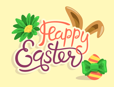 Happy Easter Lettering with Rabbit Egg and Flower Isolated on Yellow Background