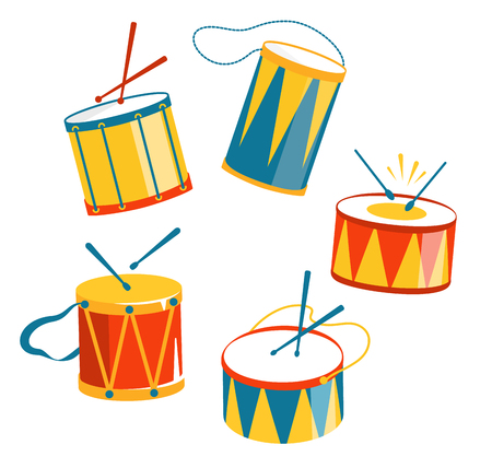 Festive Carnival Drums Isolated on White Background Stock Photo