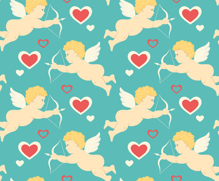 Seamless Festive Love Pattern with Cupid and Hearts on Blue Background