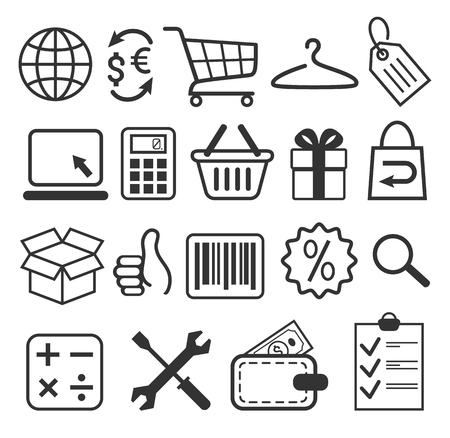 E-commerce Shopping Flat Icons Signs Collection Isolated on White Background Imagens