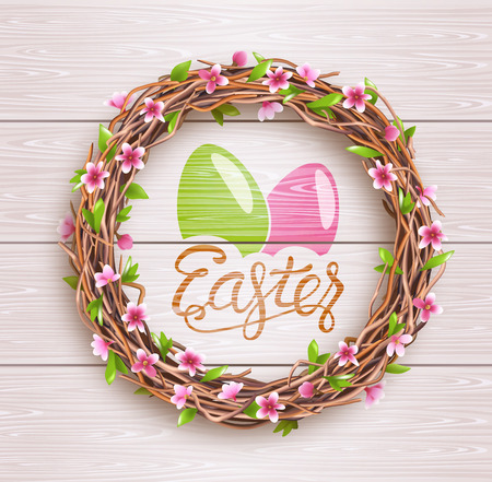 Easter Festive Twigs Wreath with Flowers on Light Wooden Background Imagens