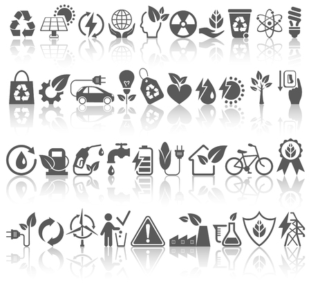 Eco Friendly Bio Green Energy Sources Black Icons Signs Set with Reflection Isolated on White Background Foto de archivo