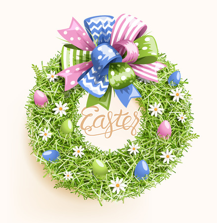 Easter Festive Grass Wreath with Bow Egg Flower on Beige Background