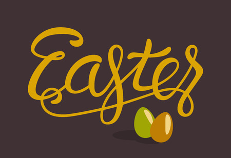 Happy Easter Lettering with Eggs Isolated on Brown Background Imagens