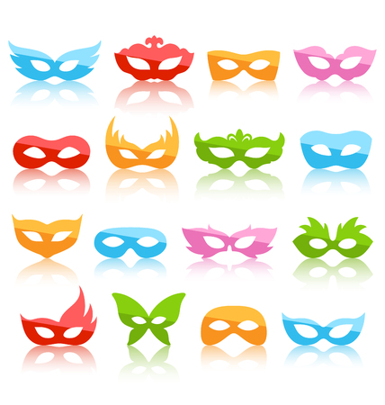 Set Collection of Glassy Colorful Carnival Masquerade Masks with Reflection Icons Isolated on White Background Imagens