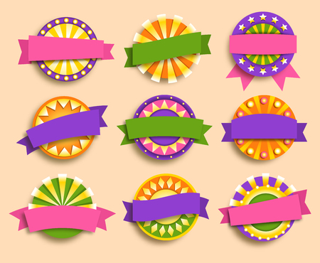 Carnival Festive Labels Signs Icons Collection Isolated on Beige Background