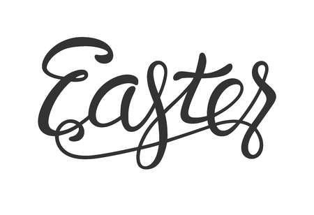 Easter Lettering Black Isolated on White Background