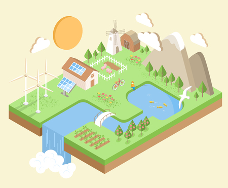 Isometric Village Country City Eco Green Environment Concept Isolated on Beige Background Imagens
