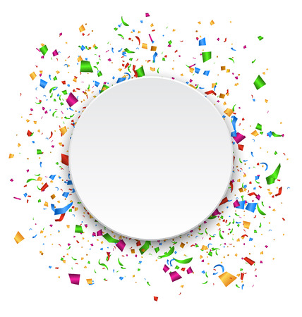 Festive Celebration Bright Confetti with Circle Frame Isolated on White Background