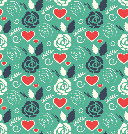 Seamless Love Abstract Pattern with Roses Flowers and Hearts on Green Background