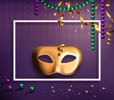 Carnival Mask Concept with Frame Confetti and Ribbons on Purple Background