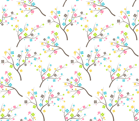 Seamless Bright Fun Abstract Spring Summer Flower Trees Pattern Isolated on White Background