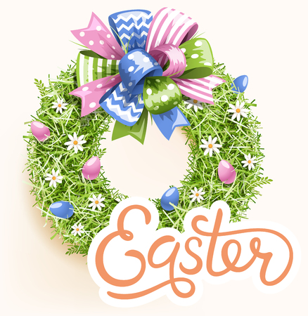 Easter Festive Grass Wreath with Bow on Beige Background