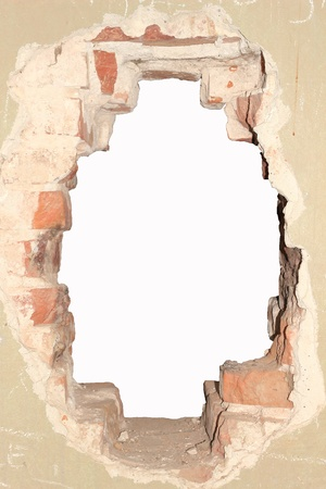 hole in an old brick wall