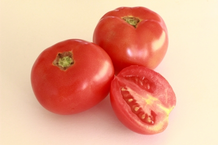 two and a half: two red tomatoes and half