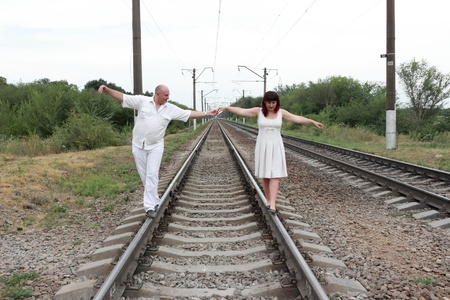 man and a woman go by train Stock Photo - 14696934