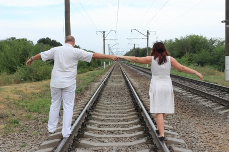 man and a woman go by train Stock Photo - 14675973