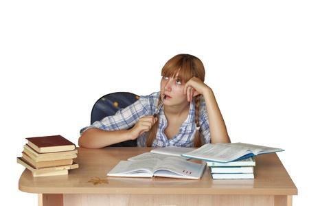 Teen girl for homework Stock Photo