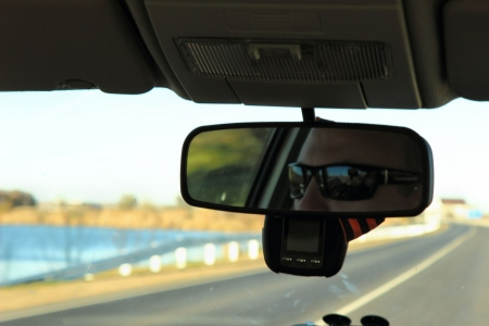 The man in the rear-view mirror photo