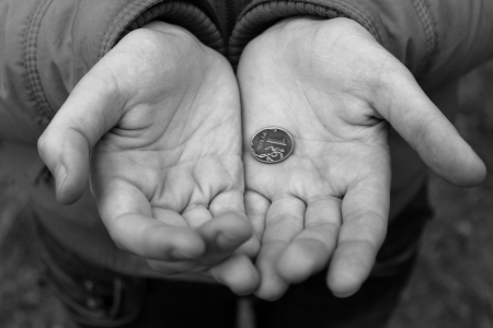 dime: coins in hand