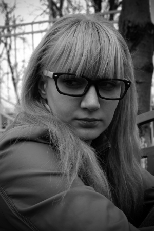 The sad girl in the park photo