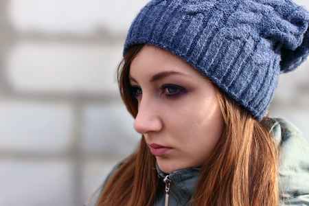 Sad girl expression in closeup shot