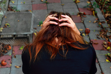 emotional grief: The sad girl Stock Photo