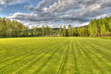 groundskeeper: freshly mowed soccer field HDR