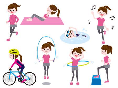 Exercise, diet illustration set