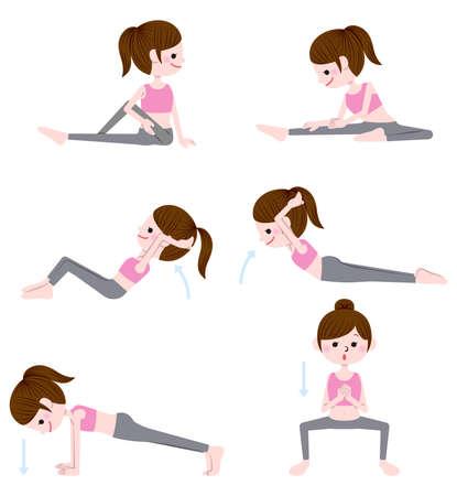 Illustration set of stretch and strength training Vektoros illusztráció