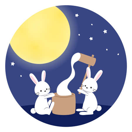 The rabbit which makes rice cake under the full moon