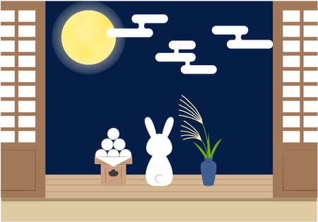 The rabbit which sees the moon on the edge of the 15th night Illustration