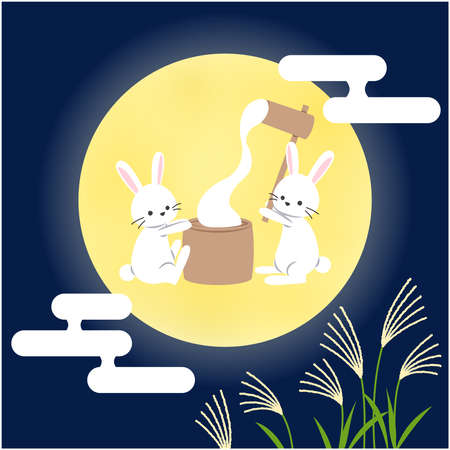 The rabbit which sticks to the rice cake in the 15th night_ moon