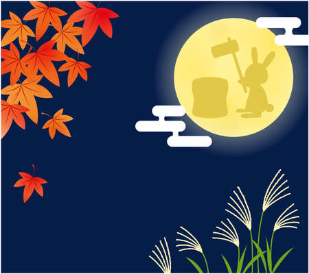 The rabbit and the autumn plant which make rice cake in the full moon Illustration