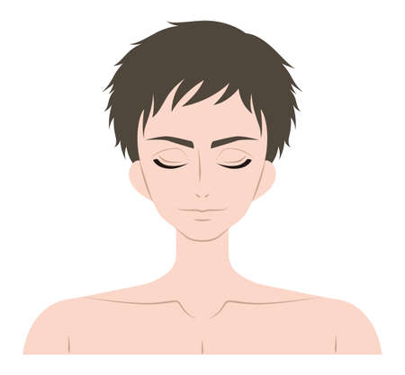 The face of a man with his eyes closed Illustration