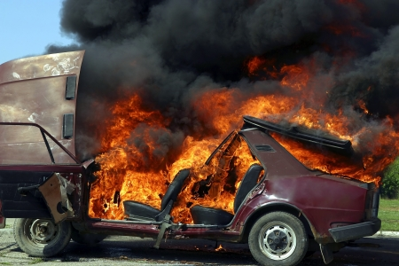 Exploded parking car on fire  Stock Photo - 10881574