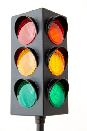 Traffic lights - toy isolated on white background Stock Photo - 12229769