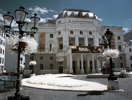 Bratislava - Slovak National Theater - photographed in infrared with IR modded camera Editorial
